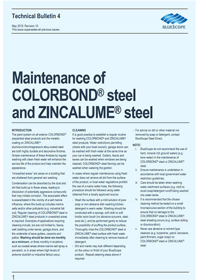 Maintain COLORBOND steel and ZINCALUME steel